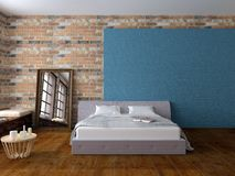 Bedroom in loft style. Render of bed in light empty room with brickwalls and hardwood floor, with blue decoration, mirror, windows and pillows Royalty Free Stock Photography