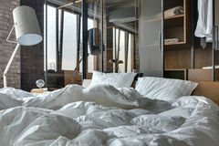 Bedroom in loft style Royalty Free Stock Photography