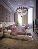 Bedroom in a luxurious classic style. 3d visualization Stock Photography