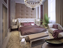 Bedroom in a luxurious classic style Royalty Free Stock Image