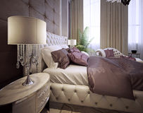 Bedroom in a luxurious classic style Stock Image