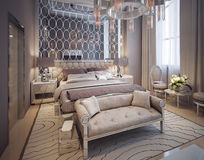 Bedroom in a luxurious modern style Royalty Free Stock Images