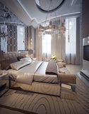 Bedroom in a luxurious modern style Stock Image