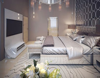 Bedroom in a luxurious modern style Stock Photos