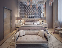 Bedroom in a luxurious modern style Stock Photo