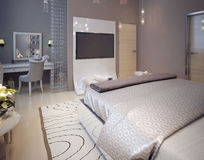 Bedroom in a luxurious modern style Stock Images