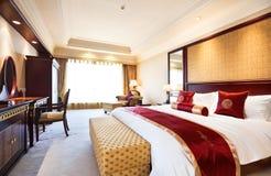 Bedroom of luxury suite in hotel stock photo