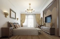 Bedroom in the Middle Eastern Arabian style with luxurious wooden carvings and a large bed with a wooden headboard. 3D rendering royalty free illustration