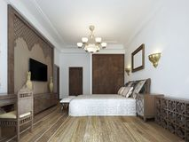 Bedroom in the Middle Eastern Arabian style with luxurious wooden carvings and a large bed with a wooden headboard. 3D rendering vector illustration