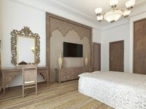 Bedroom in the Middle Eastern Arabian style with luxurious wooden carvings and a large bed with a wooden headboard. 3D rendering stock illustration