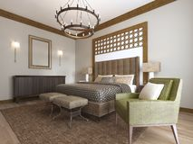 Bedroom in a middle eastern arabic style. 3D rendering vector illustration