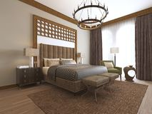 Bedroom in a middle eastern arabic style. 3D rendering royalty free illustration