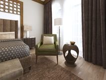 Bedroom in a middle eastern arabic style. 3D rendering stock illustration