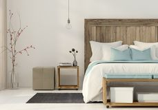 Bedroom in a minimalist style Stock Images