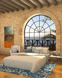 Cozy bedroom with sea view and big window Stock Photography