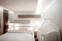 Bedroom in modern interior Royalty Free Stock Photography