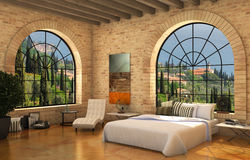 mediterranean bedroom wiyh big round windows Royalty Free Stock Photo