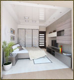 Bedroom modern style interior design, 3D render Royalty Free Stock Photos