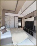 Bedroom modern style interior design, 3D render. Modern interior design ideas. 3d visualization of  bedroom interior design Royalty Free Stock Photography