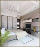 Bedroom modern style interior design, 3D render Stock Images