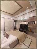 Bedroom modern style interior design, 3D render. Modern interior design ideas. 3d visualization of  bedroom interior design Stock Photo