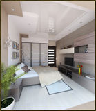 Bedroom modern style interior design, 3D render Royalty Free Stock Photography