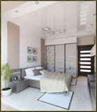 Bedroom modern style interior design, 3D render Stock Photos