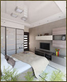 Bedroom modern style interior design, 3D render. Showcase of 3D interior design imagination rendered Stock Images