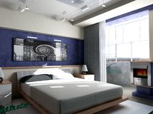 Bedroom in the morning. Interior of a sleeping room 3d render Stock Image