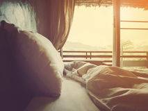 Bedroom in the morning. Soft style and vintage filter effect Royalty Free Stock Image