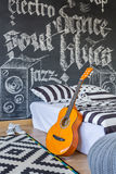 Bedroom of a music lover Royalty Free Stock Photo