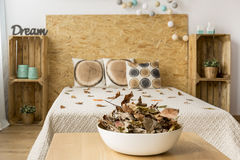 Bedroom for a nature lover Royalty Free Stock Photos