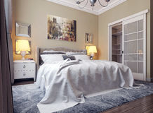 Bedroom in neoclassicism style Royalty Free Stock Images