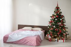 New year Christmas white room with Christmas tree 2018 2019 Stock Photography