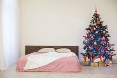 New year Christmas white room with Christmas tree 2018 2019 Royalty Free Stock Photo