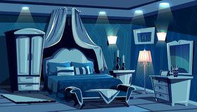 Bedroom in night with vector lamps light royalty free illustration