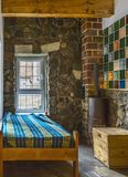 Bedroom in a Chalet. Bedroom with one bed in a chalet Stock Images