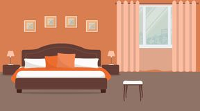 Bedroom in orange color. There is a bed with pillows, bedside tables, lamps on a window background in the image. There are also pictures on the wall. Vector Royalty Free Stock Photo
