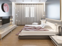 Bedroom in oriental style light with red and yellow flowers. Royalty Free Stock Photos