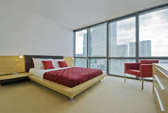 Bedroom overlooking canary wharf Stock Image