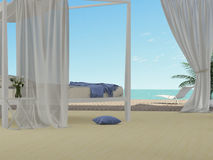 Bedroom overlooking the sea Stock Images