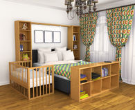 Bedroom for the parents and the child. Lullaby baby bed located near the parents ' bed. 3D illustration Royalty Free Stock Images
