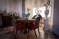 The bedroom at Pena National Palace. SINTRA, PORTUGAL - FEBRUARY 05, 2016: Interior of the bedroom at Pena National Palace, Romanticist palace in Sao Pedro de Royalty Free Stock Photo