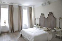 Bedroom in perspective. Big bedroom in gray colors Stock Photos