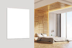 Bedroom with picture, light wood, close up Royalty Free Stock Photo