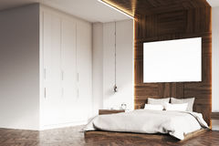 Bedroom with picture, wood, side Stock Photos