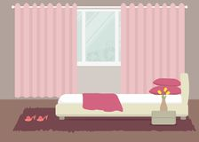 Bedroom in a pink color. There is a bed with pillows, bedside table, a vase with yellow tulips on a window background in the picture. Vector flat illustration royalty free illustration