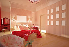 Bedroom in pink interior design Stock Photos