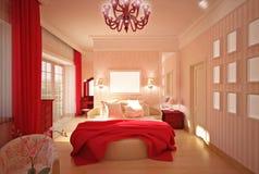 Bedroom in pink interior design Stock Images