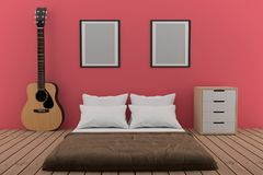 Bedroom in pink room with acoustic guitar in 3D rendering. Bedroom in pink room with acoustic guitar design in 3D rendering Royalty Free Stock Image